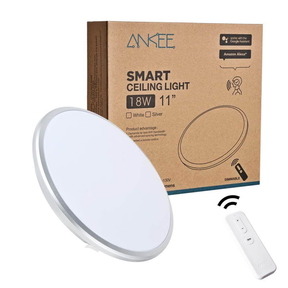 ANKEE Smart LED Ceiling Light 18W - No Hub Required 11'' Ceiling Light | Dimmable 3000K Warm White Flush Mount Ceiling Light, Works with Alexa and Google Assistant (11'' Silver) by ANKEE