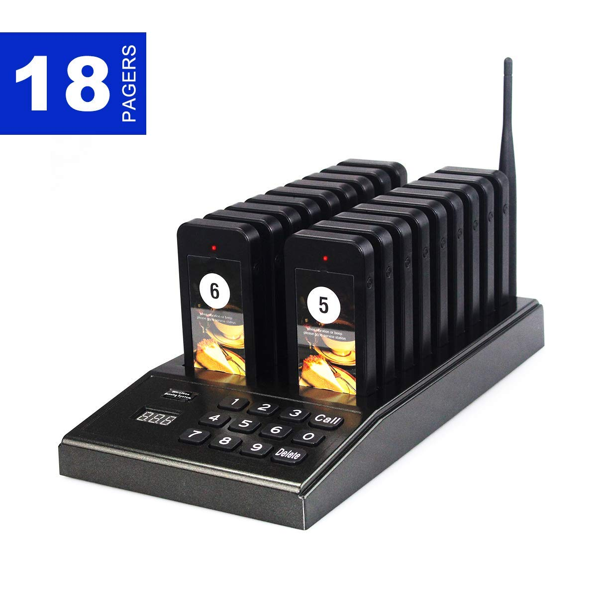 Baile Wireless Calling System Restaurant Pager/Guest Waiting Pager 18pcs Coaster Pagers 1pc Call Button Keypad Transmitter