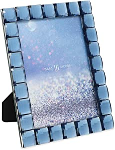 Isaac Jacobs Decorative Sparkling Navy Jewel Picture Frame, Photo Display & Home Décor (5x7, Navy)