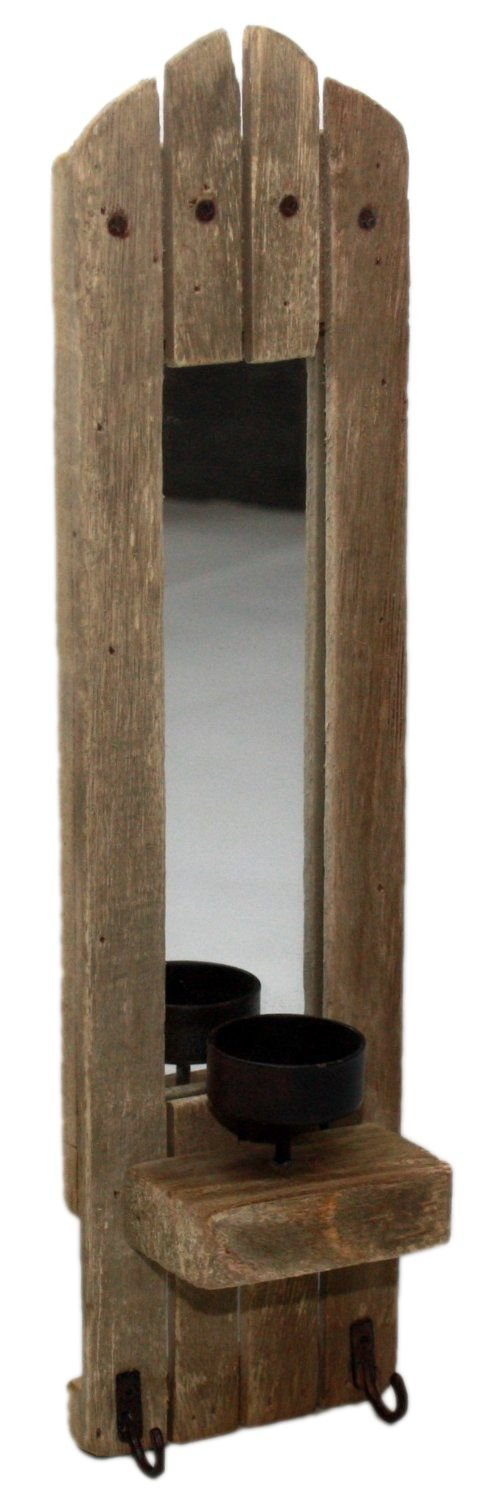 Carousel Home Rustic Wooden Wall Candle Holder With Mirror