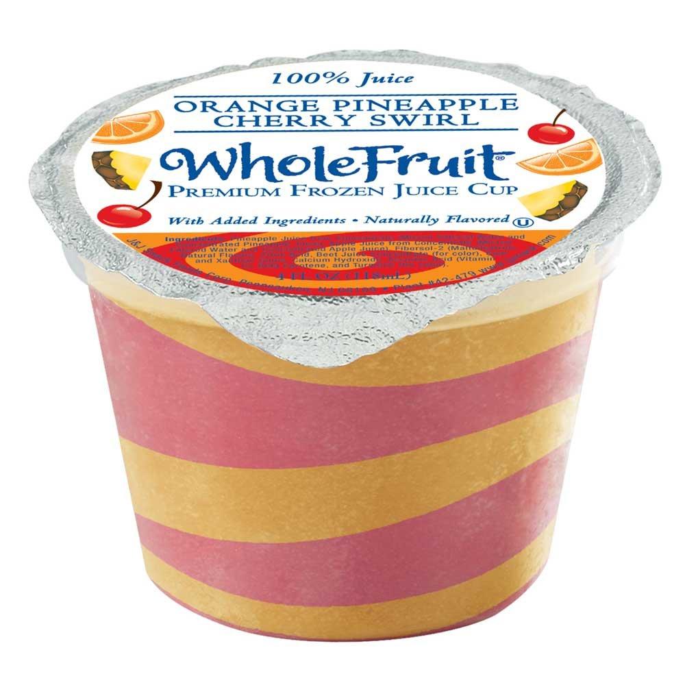 Whole Fruit Orange Pineapple and Cherry Swirl Premium Juice Cup, 4 Ounce -- 96 per case.