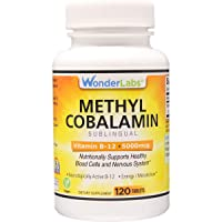 Maximum Strength Methylcobalamin Vitamin B-12, Sublingual Vitamin B-12 5,000mcg 3rd Party Tested for Purity and Potency- 120 Tablets
