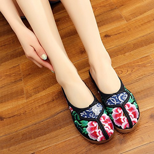 Sandali Vibrazione Stile Etnico Scarpe Peony Femminile Ricamato Desy Di Modo Comodo Caduta Suola Black Tendine CwUAxqO
