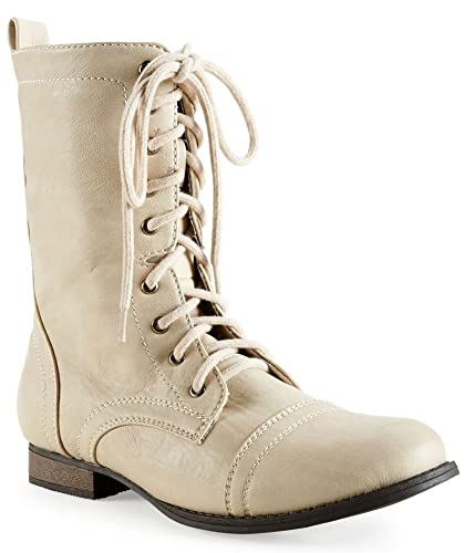 Amazon.com | Aeropostale Womens Lace Up Combat Boots floralwhite 8 ...