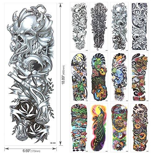 Full Arm Temporary Tattoo, Konsait Extra Temporary Tattoo Black tattoo Body Stickers for Man Women (18 Sheets) by Konsait (Image #1)