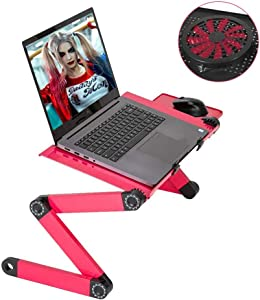 Laptop Stand, Xunpuls Adjustable Aluminum Laptop Desk, with Cooling Fan, Mouse Pad, Notebook, MacBook Laptops Table Stand for Home Office, Ergonomic Lap Desk TV Bed Standing Desk (Rose RED)
