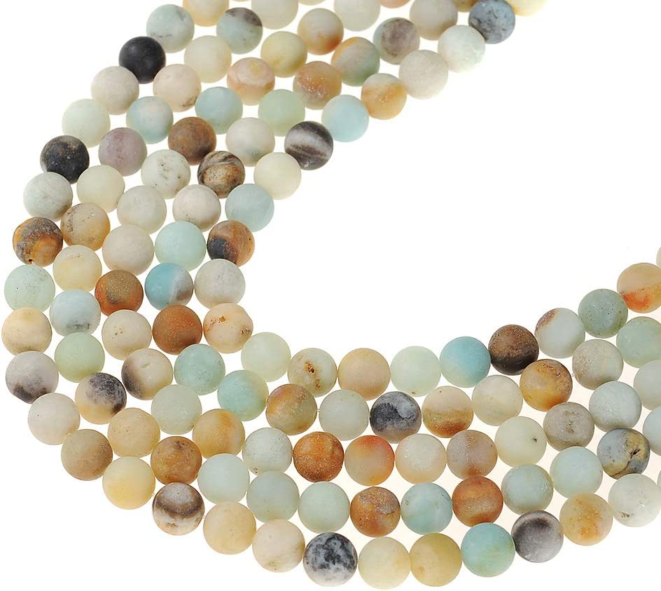 Natural Stone Beads 8mm ite Matte Beads Round Loose Beads Crystal Energy Stone Healing Power for Jewelry Making DIY,1 Strand 15