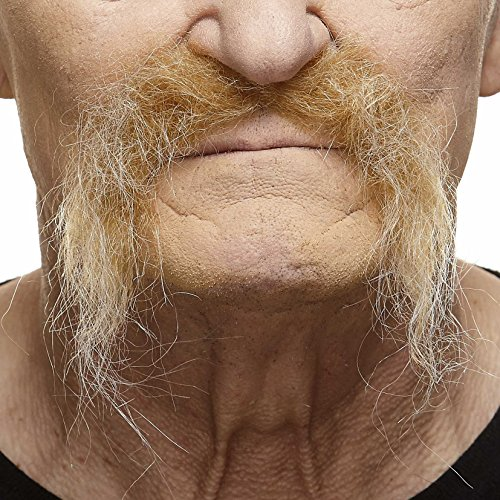 Mustaches Self Adhesive Fake Mustache, Novelty, Realistic Fu Manchu False Facial Hair, Costume Accessory for Adults, Blond Color ()