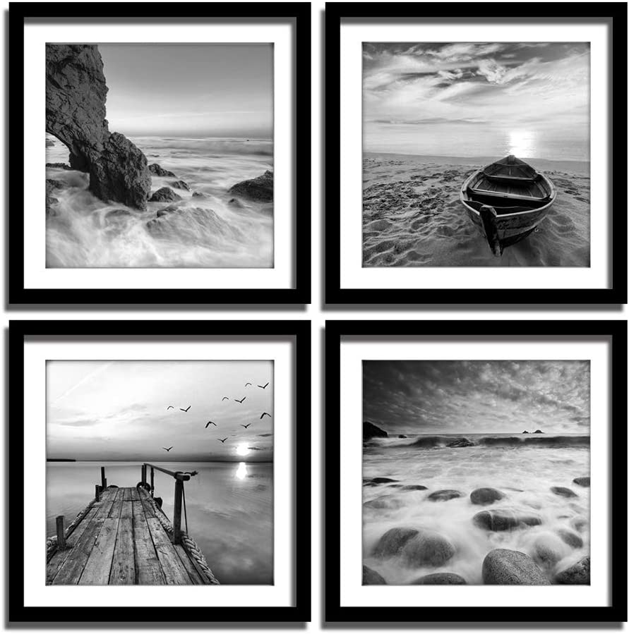 Amazon Com Englant 4 Panels Set Framed Canvas Print For Seascape Beach And Boat Sunrise Scenery Black And White Giclee Canvas Print Wall Art Ready To Hang Posters Prints