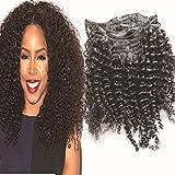 30,48 cm clip-in-prolunga per completi di cacciaviti per capelli proroga - di alta qualità ring-vero pelo Afro ricci Crespi 8 pcs colore Nero