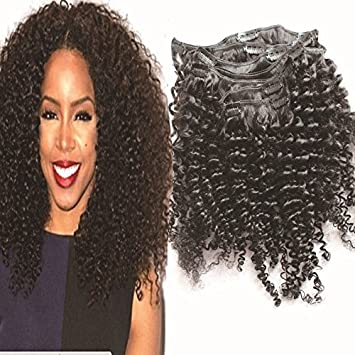 12 Inch Afro Kinky Curly Clip In Human Hair Extension Virgin Brazilian
