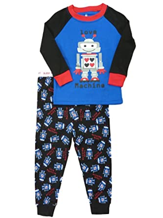 Infant & Toddler Boys Blue & Black Love Machine Pajamas Robot Sleepwear ...