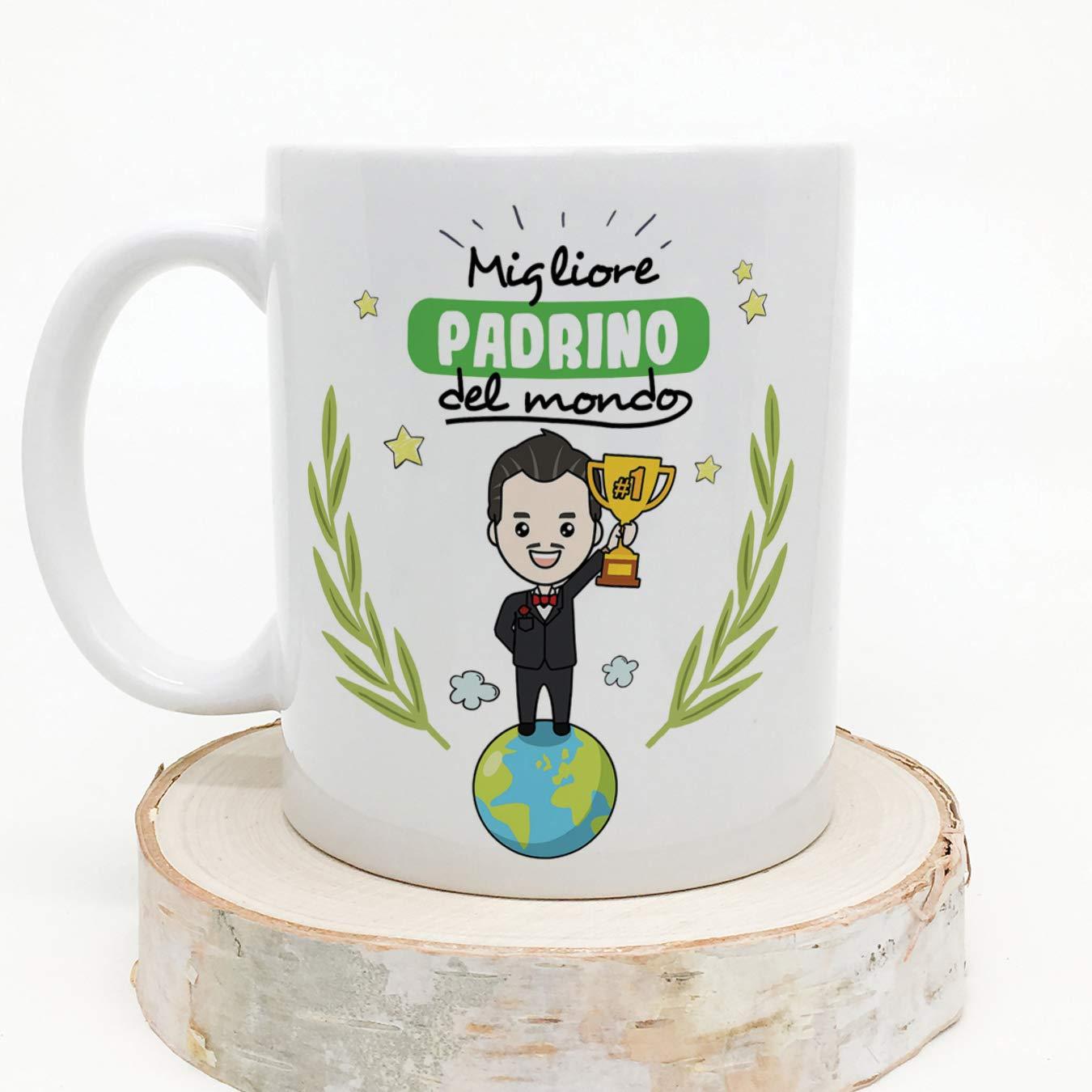 MUGFFINS (Taza en Italiano) Padrino. Tazas de café Originales y Desayuno para los Padrinos. El Mejor Padrino del Mundo. Cerámica 350 ml.