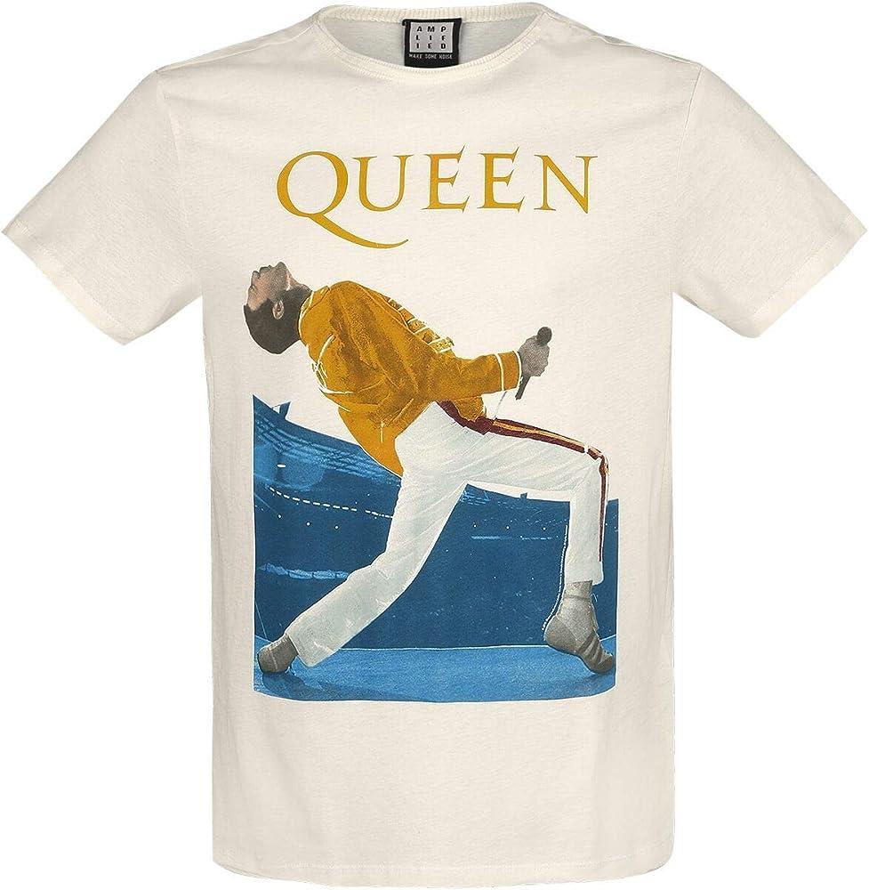 Queen Amplified Collection - Freddie Mercury Triangle Hombre Camiseta Blanco Roto, Regular: Amazon.es: Ropa y accesorios