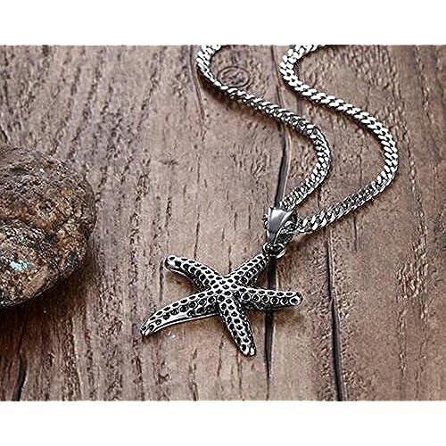 0d5ef209c473 Collar Hombre Acero Inoxidable Estrella de mar Colgante Negro 60 cm 70% OFF