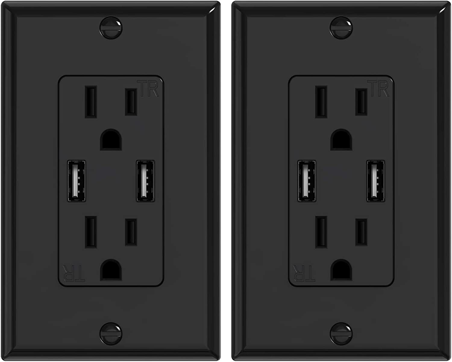 KYHSHJ 3.6A USB Wall Outlet Charger, 15A Tamper-Resistant Receptacles, Compatible with iPhone 11/X/XS/XR/SE/8, LG, HTC Samsung Galaxy S20/S10/S9/Note, More, ETL Certification, Black (10-pack) - -