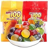 马来西亚进口LOT100一百份果汁软糖1kg(大袋) 软糖 结婚年货喜糖糖果零食 什锦/芒果果味软糖 (芒果味+综合味1kg*各1袋)
