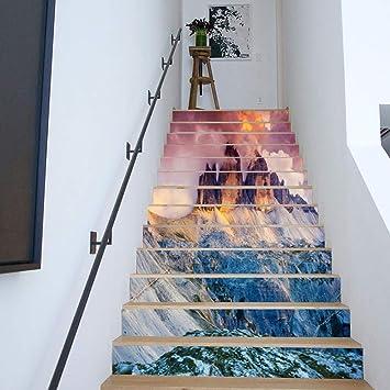 Sencillo Vida 3D Pegatinas de escalera Antideslizante Impermeable auto adhesivo pegatina de pared vinilo decorativo Stair Sticker Steps Sticker, 13Pcs/Set, arándano, volcánico, Campo de nieve (B): Amazon.es: Bricolaje y herramientas