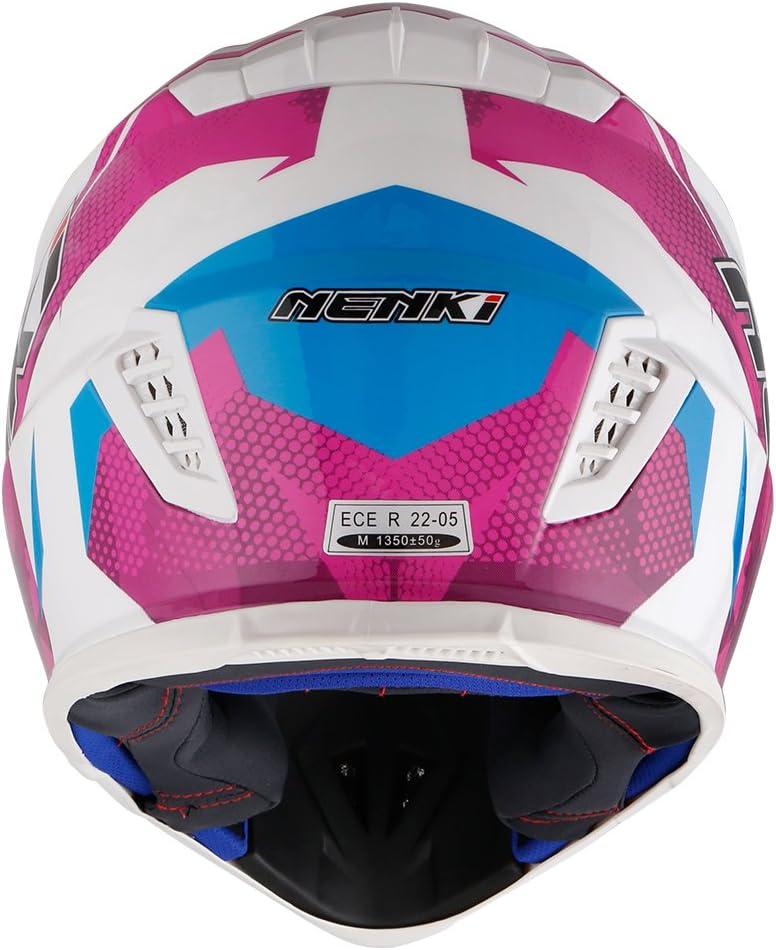 Blanc Bleu Violet, S NENKI Casque Moto Cross NK-316 pour Hommes et Femmes ECE Approuv/és