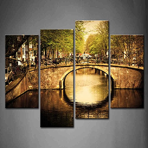 First Wall Art - 4 Panel Wall Art Amsterdam Holland Romantic Bridge Over Canal Old Town Tree