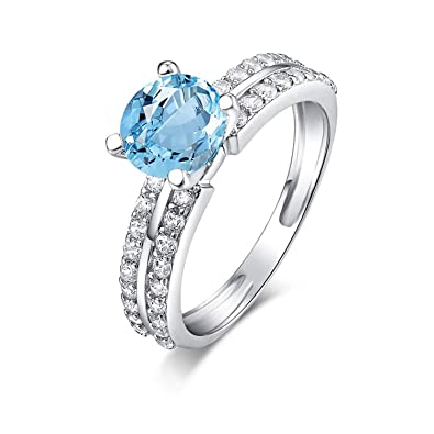 AMDXD Jewelry 925 Sterling Silver Ring for Women Blue Round Cut Topaz Round Rings