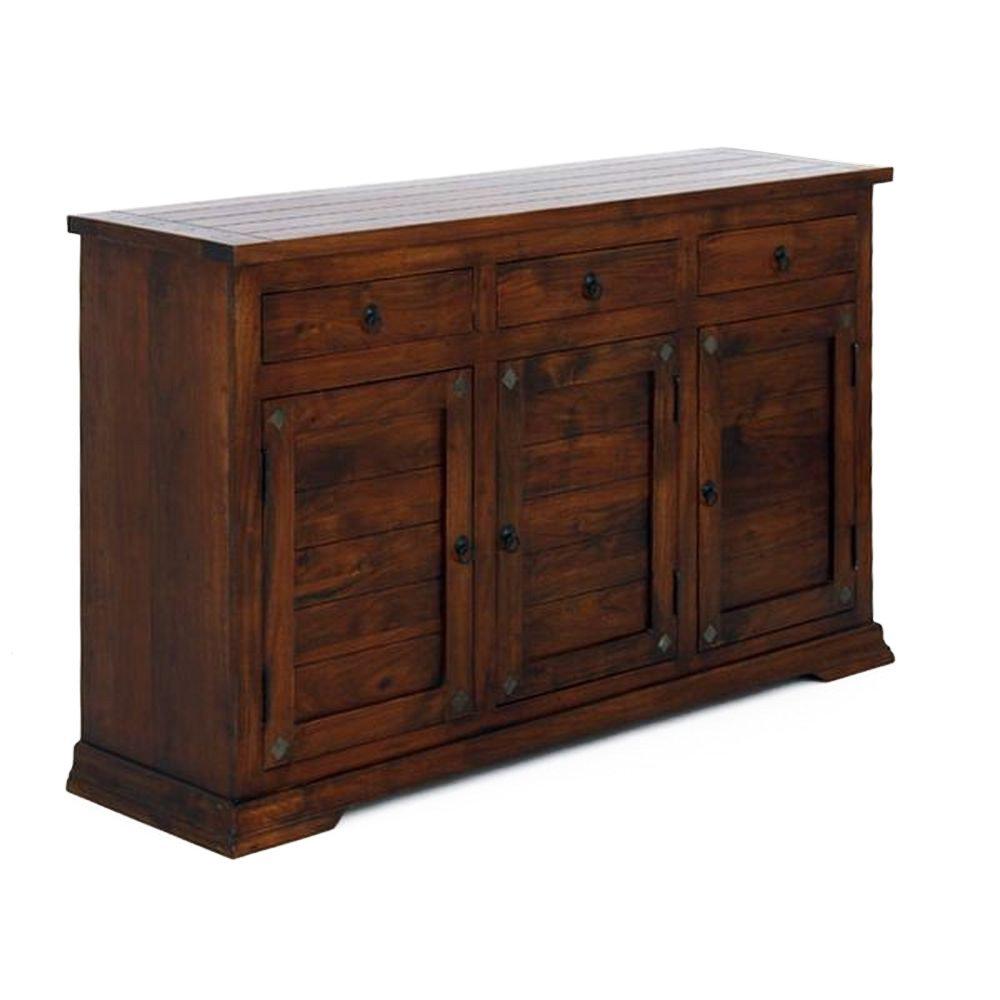 Sideboard mit 3 Türen & 3 Schüben aus Massivholz Braun gebeizt - Modell Bari