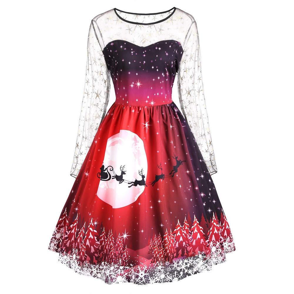 Christmas Fashion Women Vintage Merry Christmas Print Long Sleeve Mesh Evening Party Dress iTLOTL TOPS NO.1
