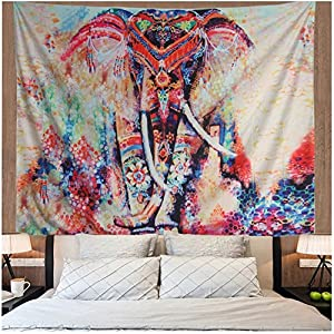 Amonercvita Elephant Tapestry Wall Hanging Mandala Tapestry Bohemian Tapestry Watercolor Wall Tapestry Flower Psychedelic Tapestry Indian Dorm Decor