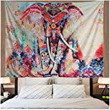 Watercolor Elephant Tapestry Wall Hanging Mandala Tapestry Bohemian Tapestry Psychedelic Wall Tapestry Flower Psychedelic Tapestry for Indian Dorm Decor