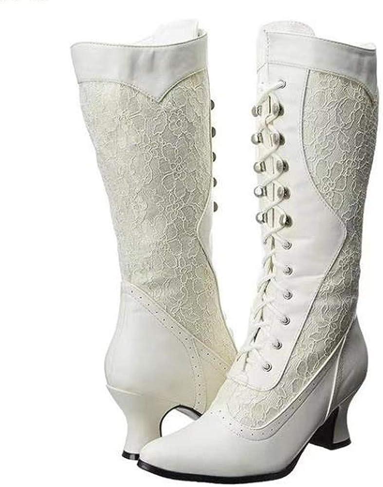 Houdo - Botas Altas para Mujer, talón bajo y Rodilla de Suecia Blanco 37: Amazon.es: Ropa y accesorios