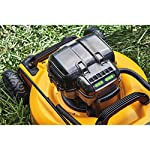 Dewalt 20v max lawn mower, 3-in-1, 2 batteries (dcmw220p2) 28 push mower comes with powerful brushless motor and (2) 20v max* batteries working simultaneously for high power output. 3-in-1 push lawn mower for mulching, bagging and side discharging battery lawn mower has heavy-duty 20-inch metal deck