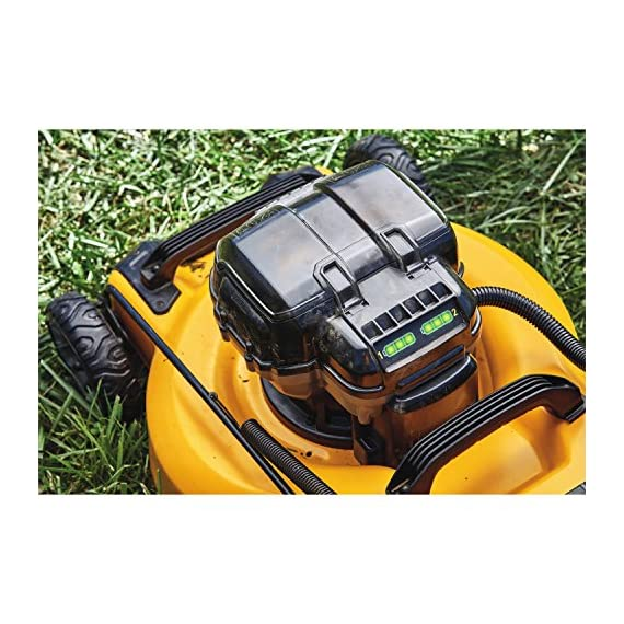 Dewalt 20v max lawn mower, 3-in-1, 2 batteries (dcmw220p2) 12 push mower comes with powerful brushless motor and (2) 20v max* batteries working simultaneously for high power output. 3-in-1 push lawn mower for mulching, bagging and side discharging battery lawn mower has heavy-duty 20-inch metal deck