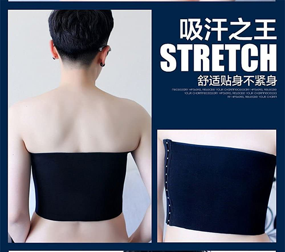 BaronHong Tomboy Trans Lesbian Strapless Plus Size Chest Binder Top with 20 cm Elastic Band