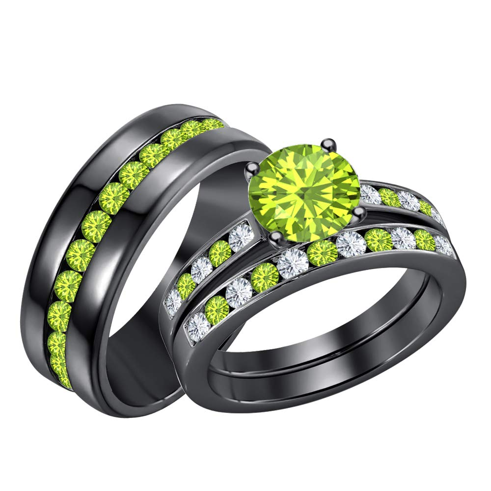 RUDRAFASHION 14k Black Gold Plated Round Cut Green Peridot 925 Sterling Silver Mens Anniversary Band Ring