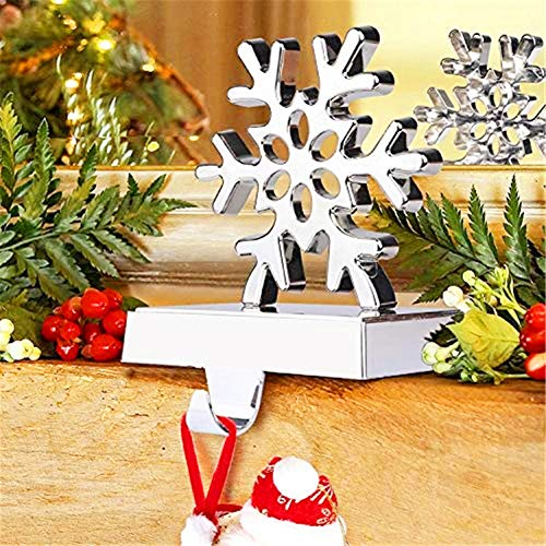 (Morinostation 3D Snowflake Christmas Stocking Hanger, Silver Christmas Decorations for Home, Holiday Xmas Supplies)