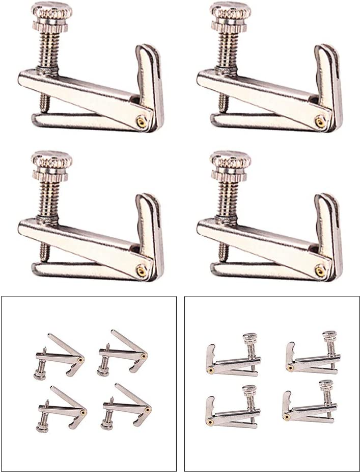 SUPVOX 4pcs Violin Fine Tuners String Adjusters with Gold Screws for Violin Silver
