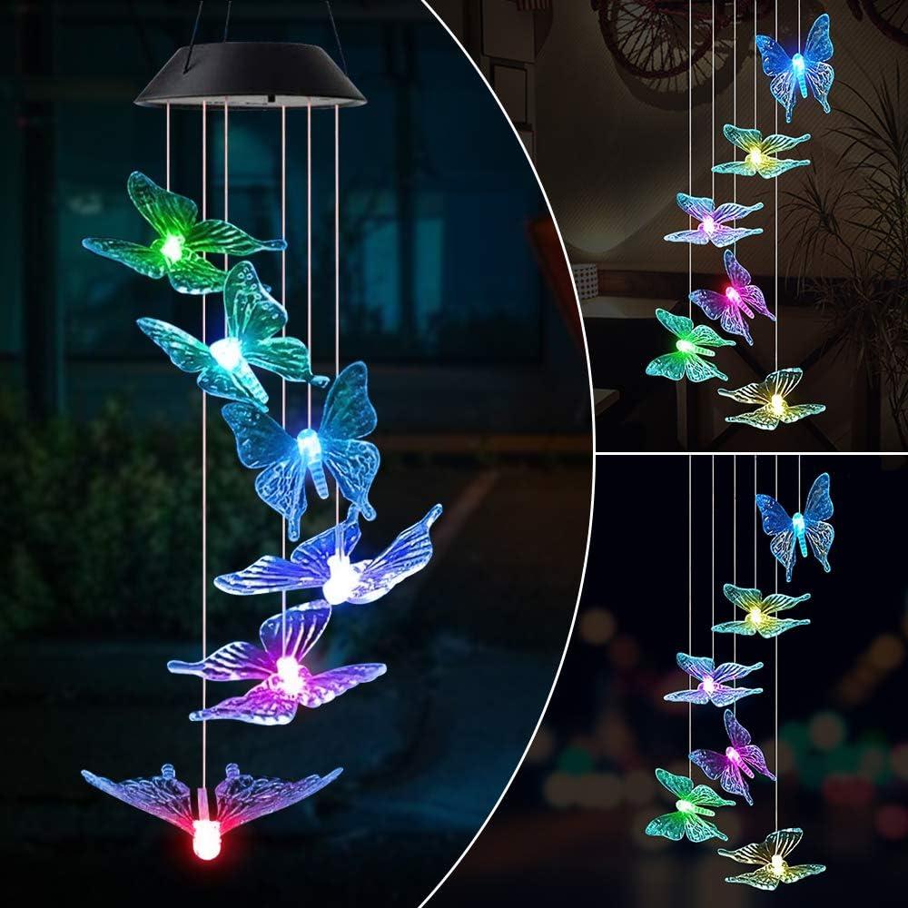 MMTX Carillón Campanas de Viento energía Solar LED Wind Chimes con Cambio de color Spinner Ball lámpara para exterior jardín/Patio Iluminación Decoración Navidad cumpleaños Regalo para niña Mamá