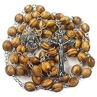 Tienda Nazareth Rosario de oración católica Collar de cuentas de madera de olivo Holy Soil Medal & Metal Cross Velvet Gift Bag