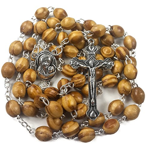 (Nazareth Store Catholic Prayer Rosary Olive Wood Beads Necklace Holy Soil Medal & Metal Cross Velvet Gift Bag)