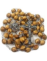 Catholic Prayer Rosary Olive Wood Beads Necklace Holy Soil Medal & Metal Cross Velvet Gift Bag