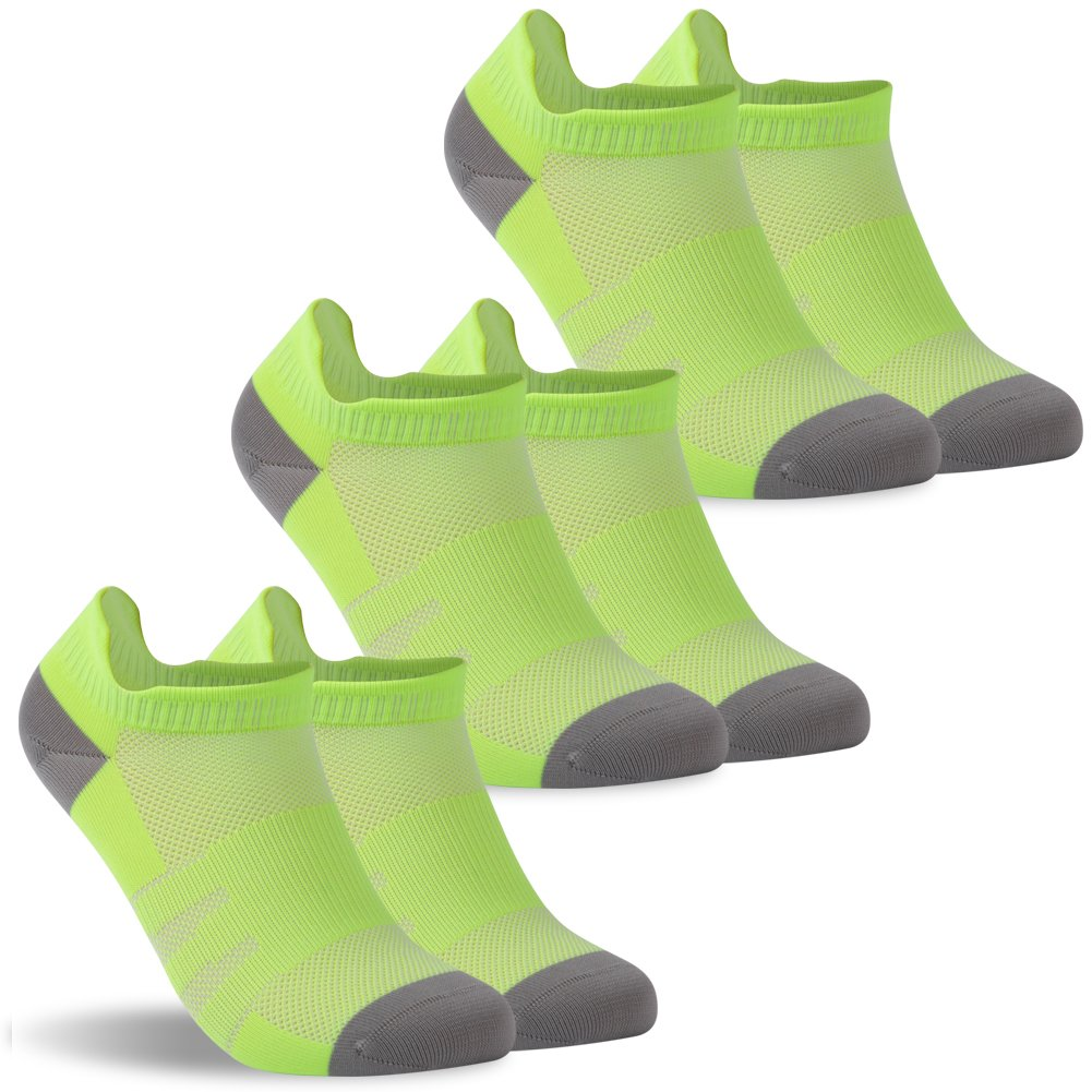 diwollsam Low Cut Running Socks Women, Dry-fit Comfortable Soft Cycling Tennis Athletic Socks Tab, One Size(3 Pairs, Fluorescent Green)