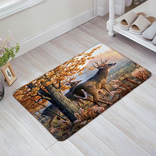 Decor Love Custom Autumn Nature Wildlife Animal Deers Hunting Welcome Mats Non-Skid Slip Rubber Entrance Mats Rugs Shoes Scraper Indoor/Front Door/Bathroom/Kitchen/Bedroom 15.7'' x 23.6'' ()