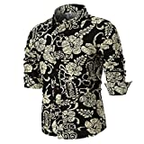 VIASA Personality Men's Summer Casual Fashion Muscle Slim Long Sleeve Printed Shirt Top Blouse (M, Multicolor)