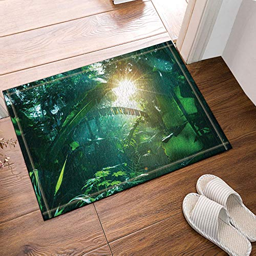 GoEoo Tropical Rainforest Decor Sunshine into The Banana Leaves Bath Rugs Non-Slip Doormat Floor Entryways Outdoor Indoor Front Door Mat Kids Bath Mat 15.7x23.6in Bathroom Accessories