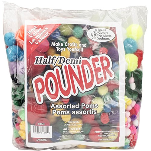 Pepperel Pom Poms Half Pounder Assorted Approximately 750/Pkg, Standard