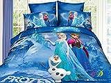 JOYBUY Bedding Sets Frozen Cartoon Bedding Set Princess Elsa Anna Flat Sheet Queen Size Duvet Cover Bed Sheet Pillow Case Blue, Queen