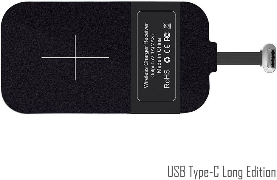 USB Type-C de QI de carga inalámbrica Receptor [largo Edition], USB-C Wireless Charging Receiver inalámbrico del cargador receptor Patch modulo, Android Google Pixel XL, LG V20, HTC 10, OnePlus 3/5