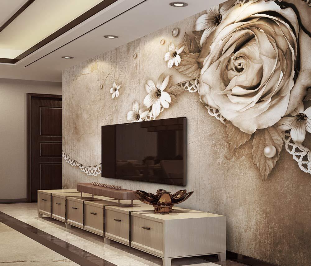 Amazon Com Murwall Dark Floral Wallpaper Brown Rose Wall Mural