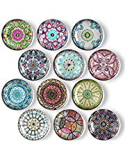 OOTSR 12 Pieces Mandala Glass Refrigerator Magnets, Cabinet Cute Locker Magnet, Locker Fridge Magnets for Office Cabinets, Whiteboards, Photos, Beautiful Decorative Magnets for Gift, Decorate Home