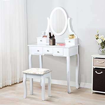 Yaheetech White Dressing Table With Mirror And Stool5 Drawers